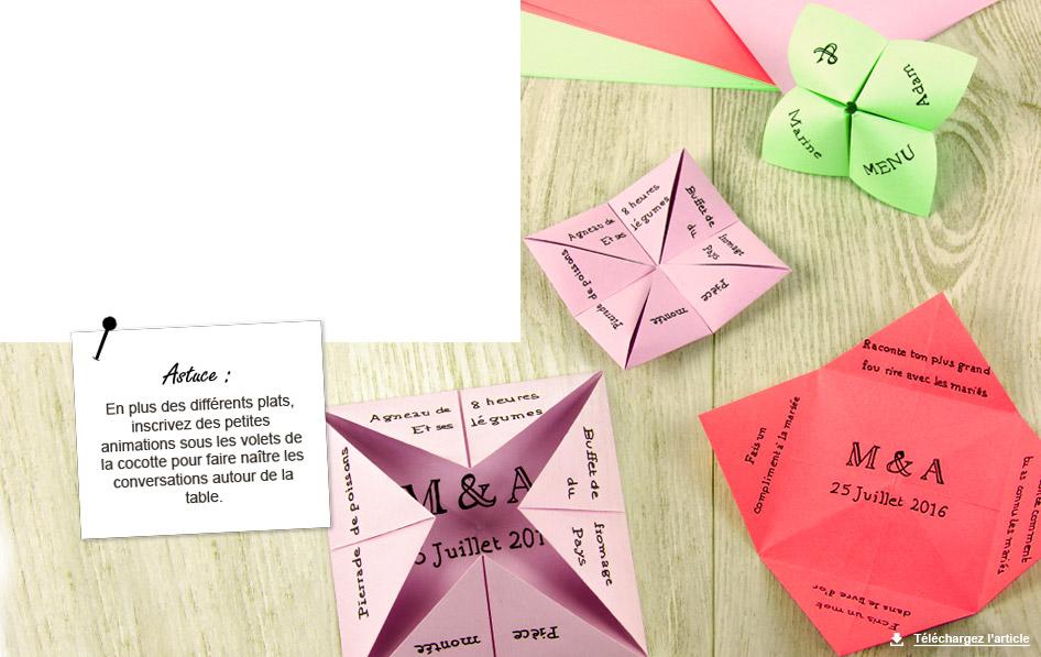Populaire Modèle menu mariage : cocotte en papier - carnet d'idées  ZJ78